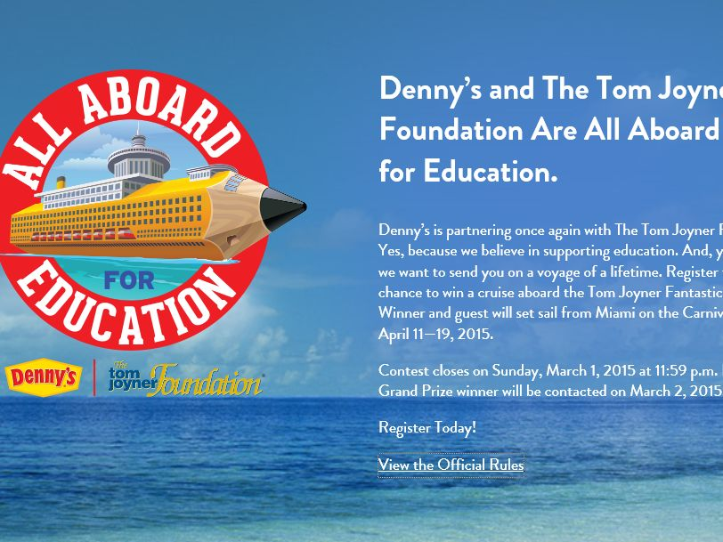 The Denny's All Aboard for Education Sweepstakes