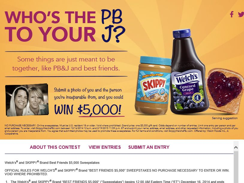 """The Welch's and SKIPPY Brand """"Best Friends $5,000"""" Sweepstakes"""