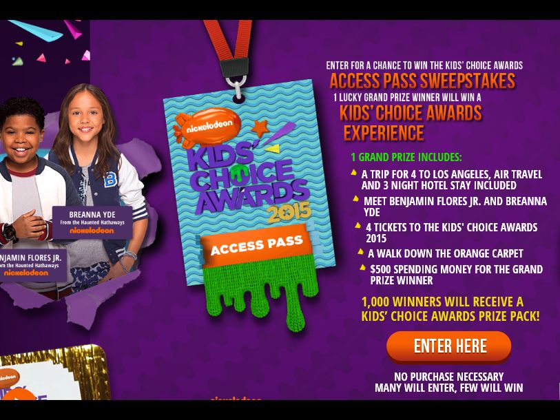 Kids' Choice Awards: Access Pass Sweepstakes