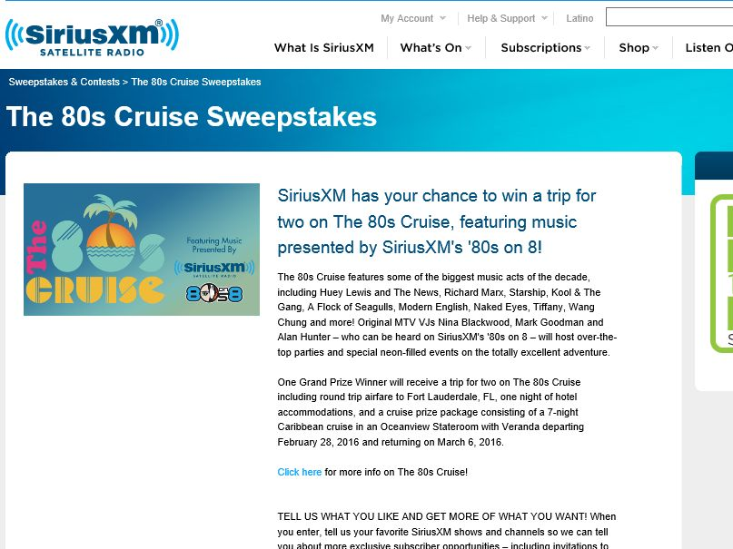The SiriusXM 80s Cruise 2016 Sweepstakes