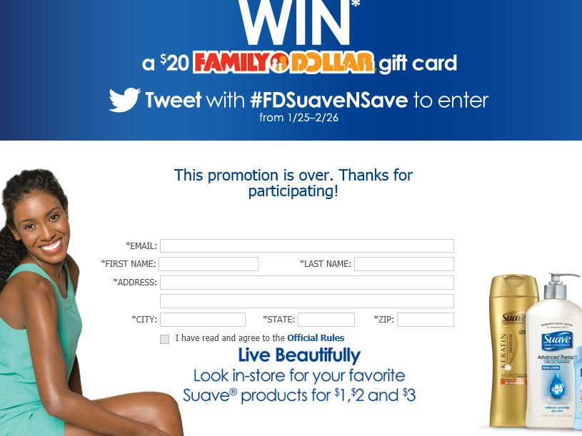The Suave 'n Save Family Dollar Sweepstakes