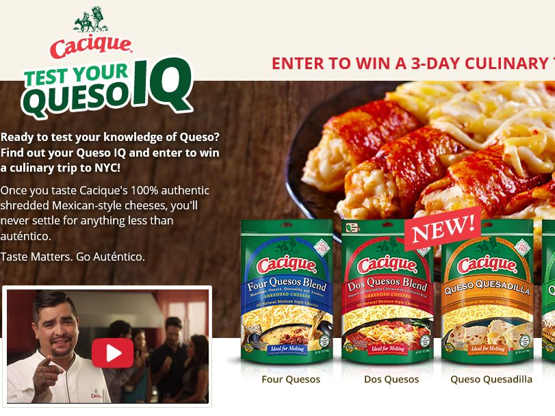The Cacique Queso IQ Sweepstakes