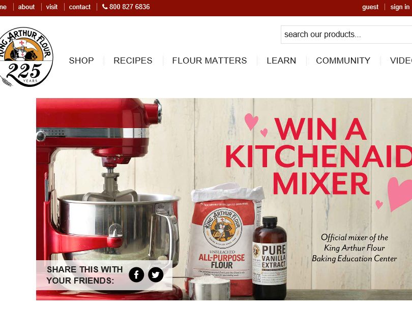 King Arthur Flour KitchenAid Giveaway Sweepstakes