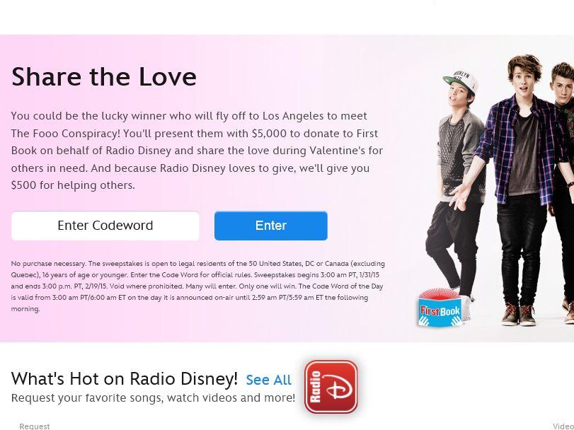 RadioDisney Share the Love Sweepstakes