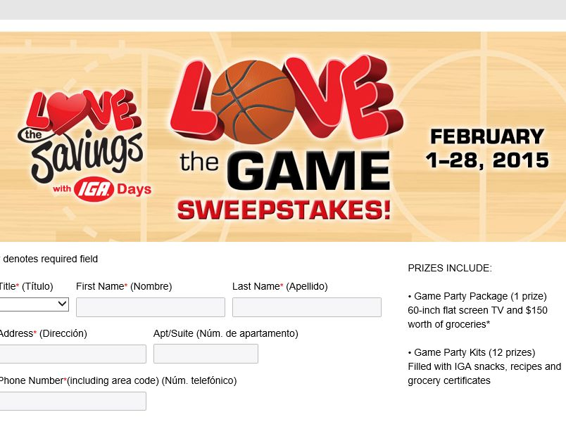 "The 2015 ""IGA Love the Game"" Sweepstakes"