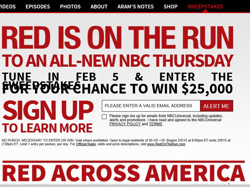 The Blacklist Tune in to Win Sweepstakes