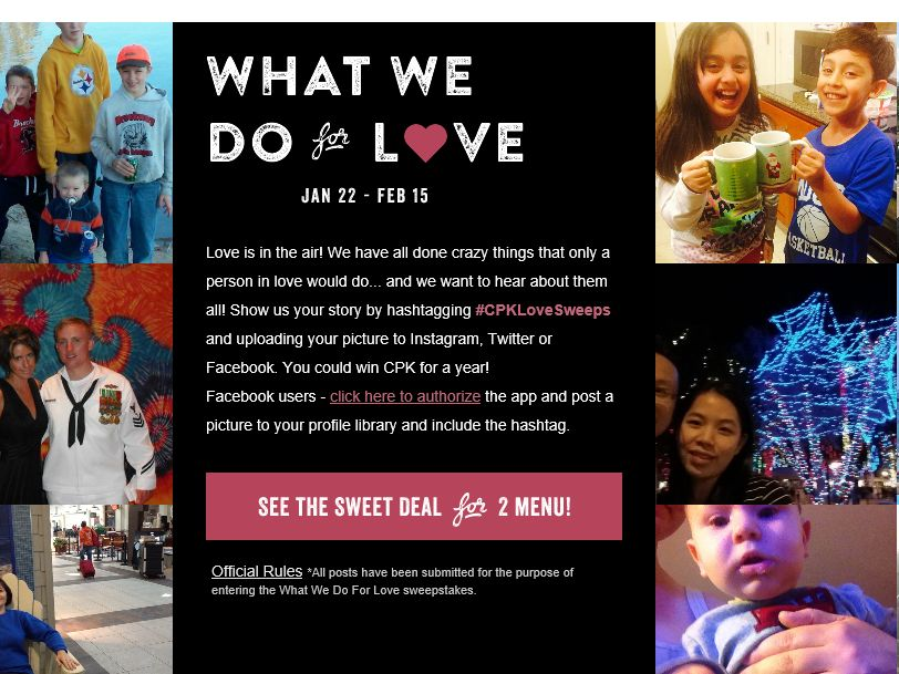 "The CPK ""What we Do for Love"" Sweepstakes"