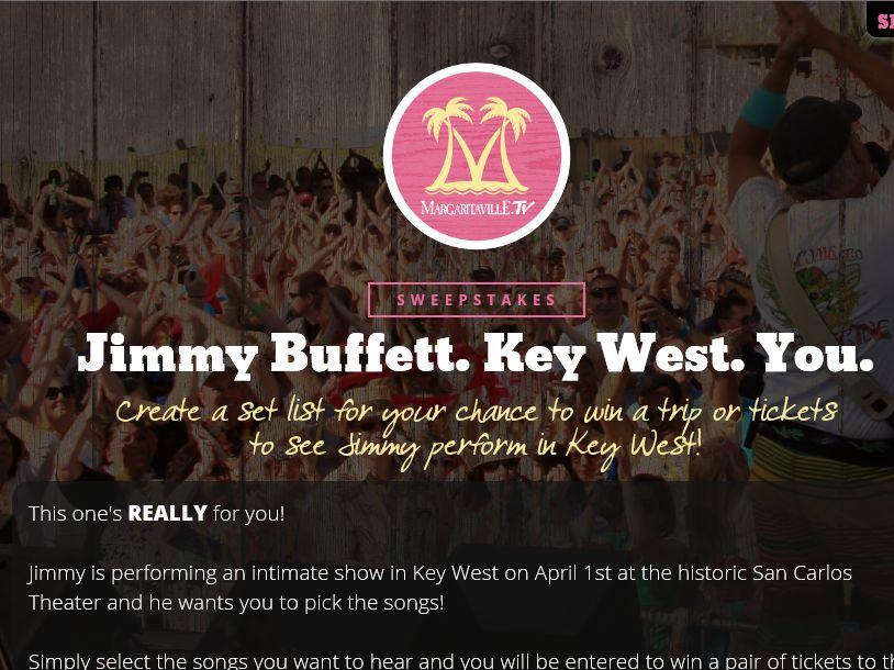 The Jimmy Buffett Key West Concert Sweepstakes