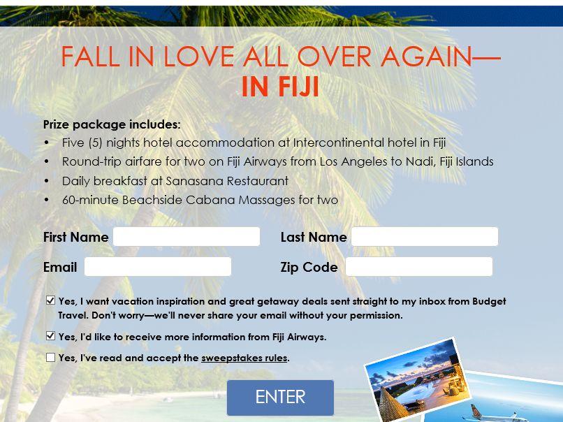 "Budget Travel ""Win a trip to Fiji"" Sweepstakes"