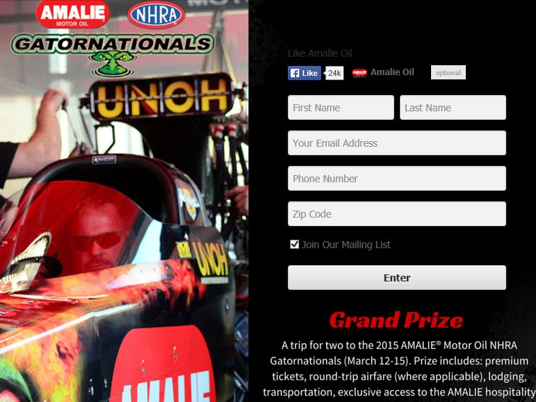 """The AMALIE Motor Oil """"2015 Gatornationals Giveaway"""" Sweepstakes"""