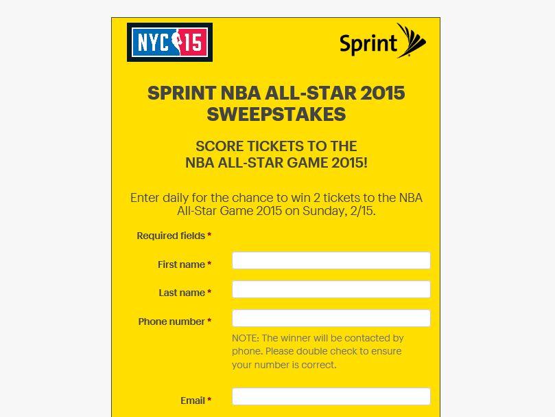 Sprint NBA All-Star 2015 Sweepstakes