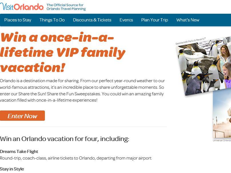 VisitOrlando Share the Sun! Share the Fun Sweepstakes