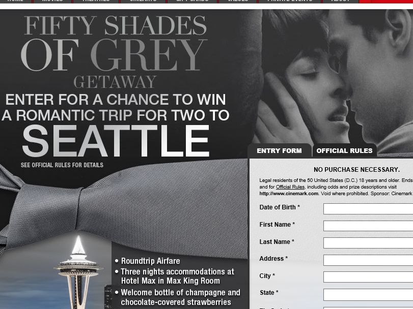 Cinemark's Fifty Shades of Grey Sweepstakes