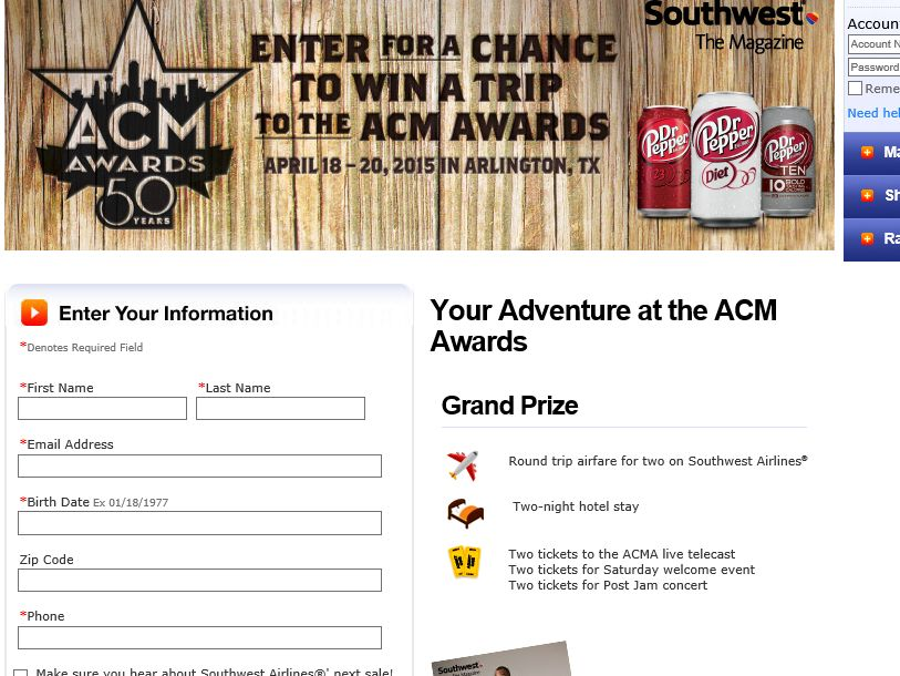 Southwest Your Adventure at the ACM Awards Sweepstakes