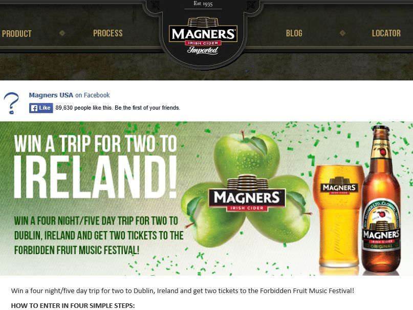 """Magners Irish Cider """"St. Patrick's Day – Win a Trip to Ireland"""" Sweepstakes"""