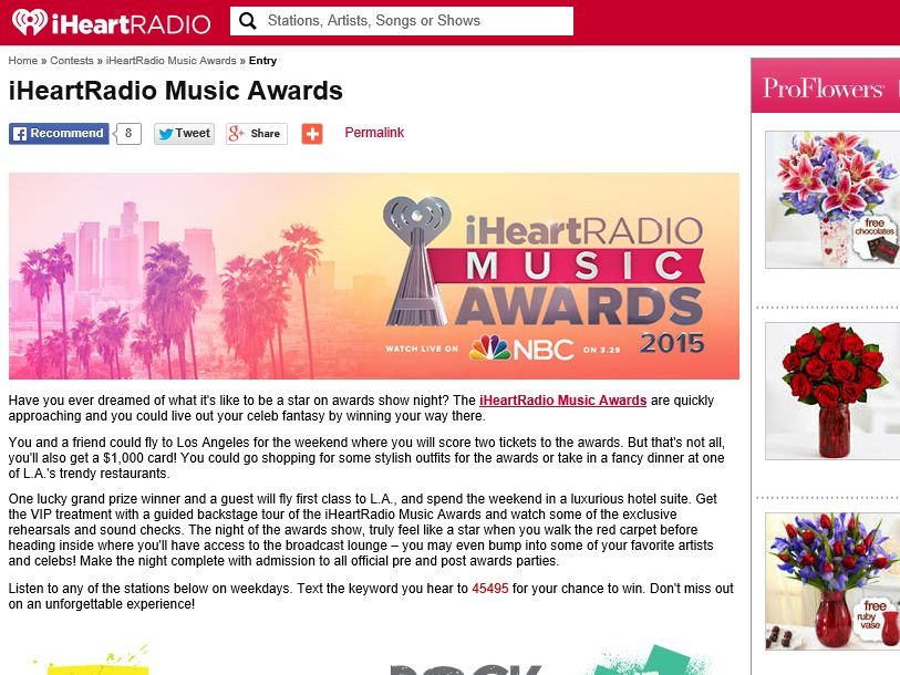 2015 iHeartRadio Music Awards Flyaway Sweepstakes