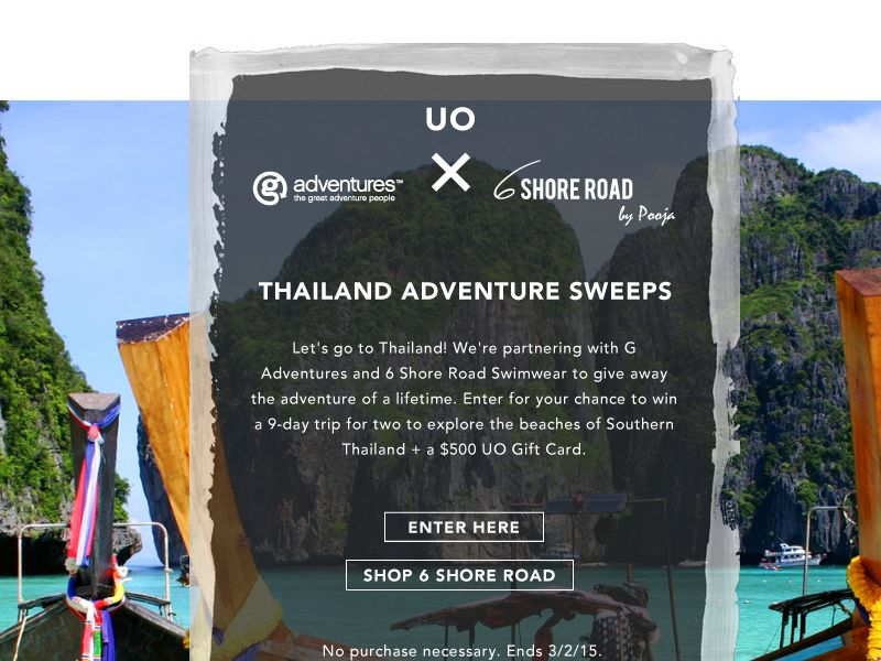 G Adventures, Urban Outfitters and 6 Shore Road' s Sweepstakes