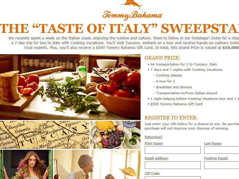 "Tommy Bahama ""Taste of Italy"" Sweepstakes"