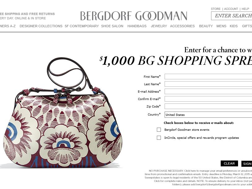 Bergdorf Goodman Promotional Gift Card Sweepstakes