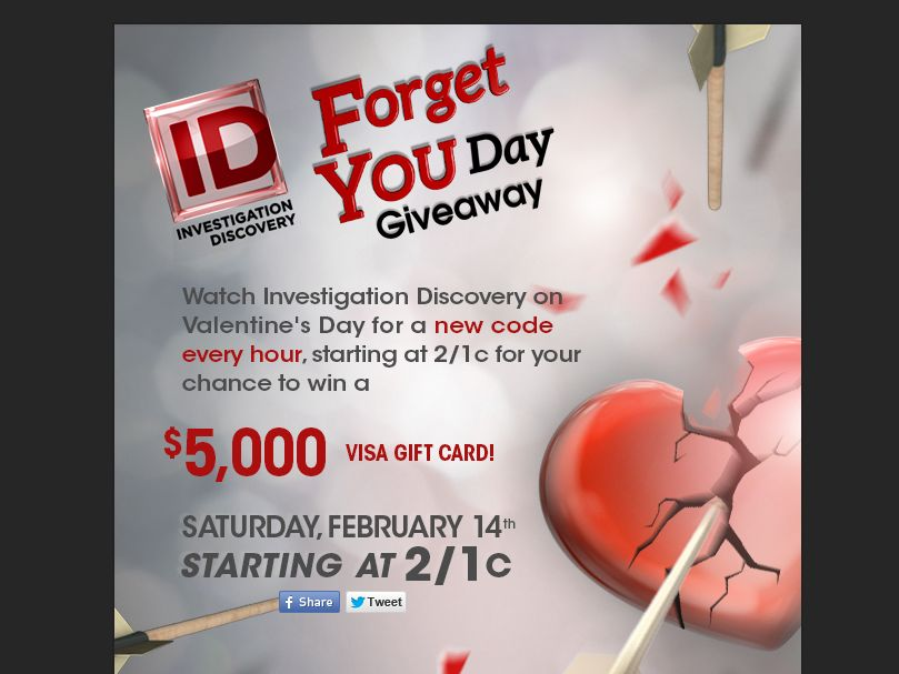 The Investigation Discovery Forget You Day $5K Giveaway