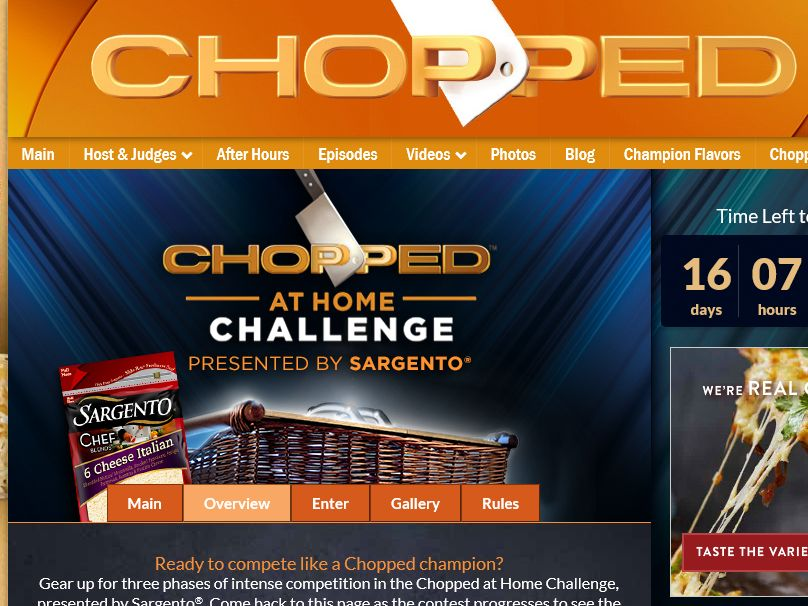 The Sargento Chopped at Home Challenge Sweepstakes