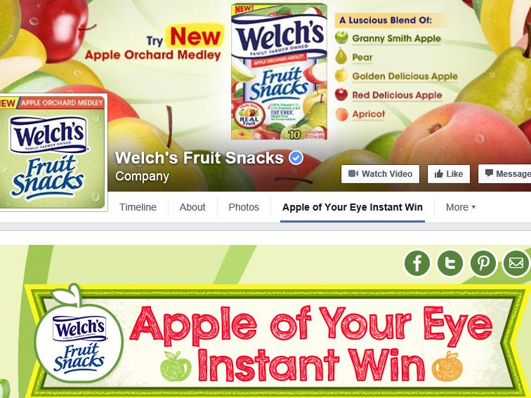 Welch's Fruit Snacks Apple of Your Eye Instant Win Game