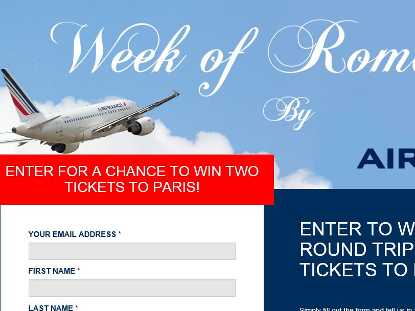 The AirFrance Week of Romance 2015 Sweepstakes