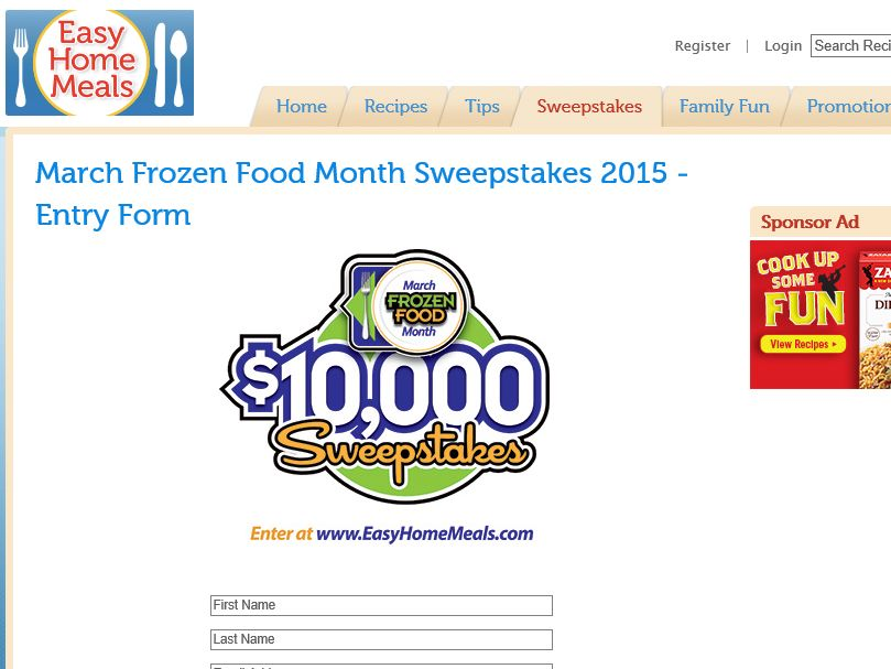 The March Frozen Food Month $10,000 Sweepstakes