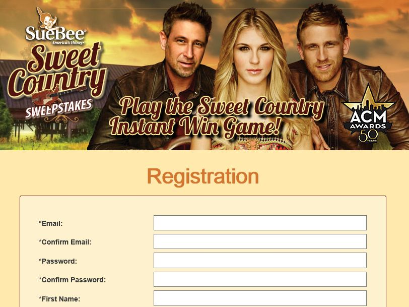 The SueBee Sweet Country Instant Win Game