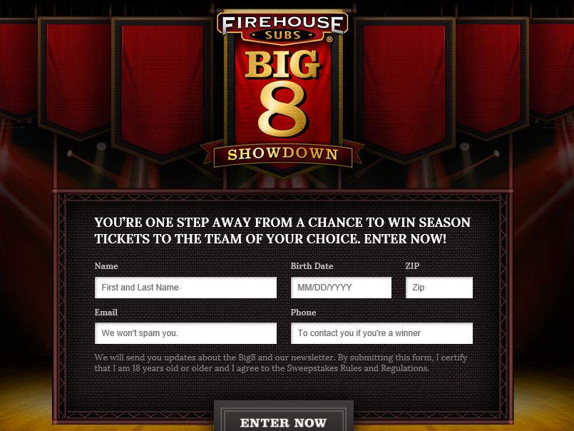 Firehouse Subs Big 8 Showdown Sweepstakes
