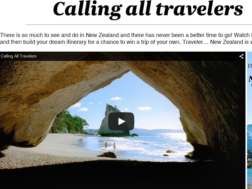 The Air New Zealand Calling All Travelers Sweepstakes