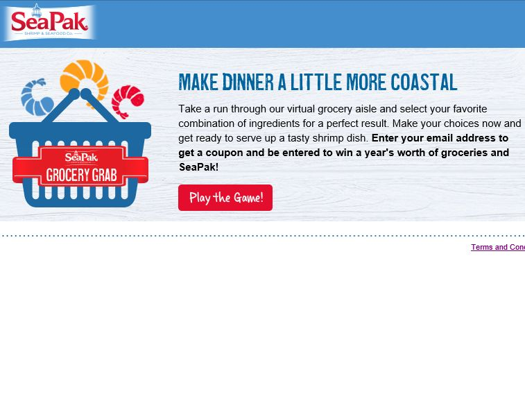 The SeaPak Grocery Grab Game Sweepstakes