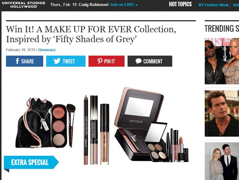 Extra MAKE UP FOR EVER Collection, Inspired by 'Fifty Shades of Grey' Sweepstakes