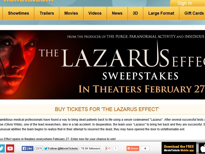 "MovieTickets.com's ""The Lazarus Effect"" Sweepstakes"