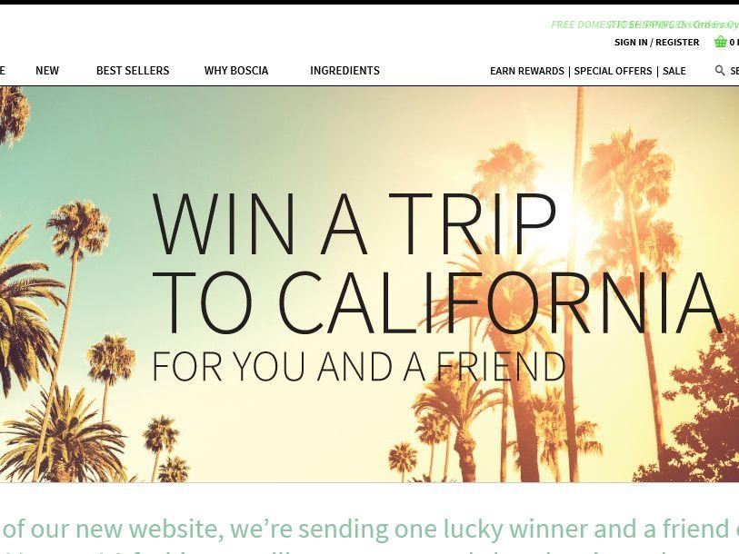 Boscia 2015 Win a Trip to California Sweepstakes