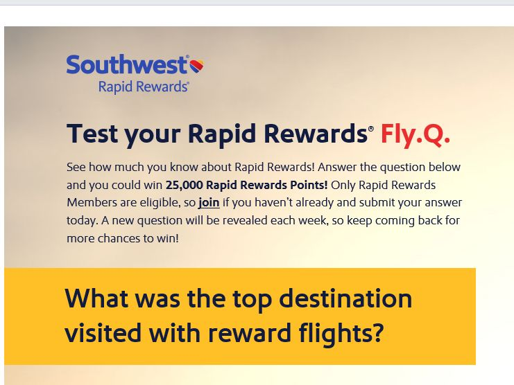 """Southwest Airlines """"Test Your Rapid Rewards Fly.Q."""" Sweepstakes"""