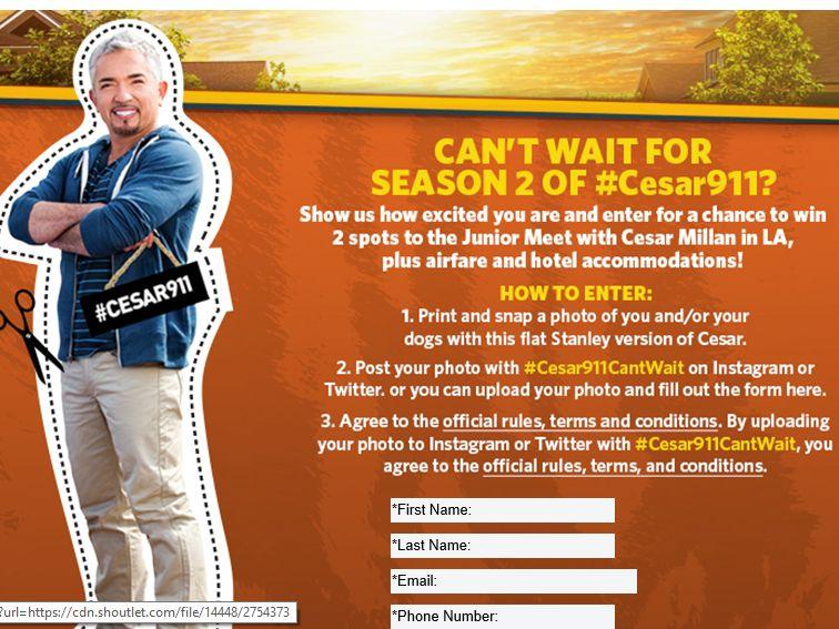 "Cesar Millan and Nat Geo WILD ""Cesar911Can't Wait"" Contest"