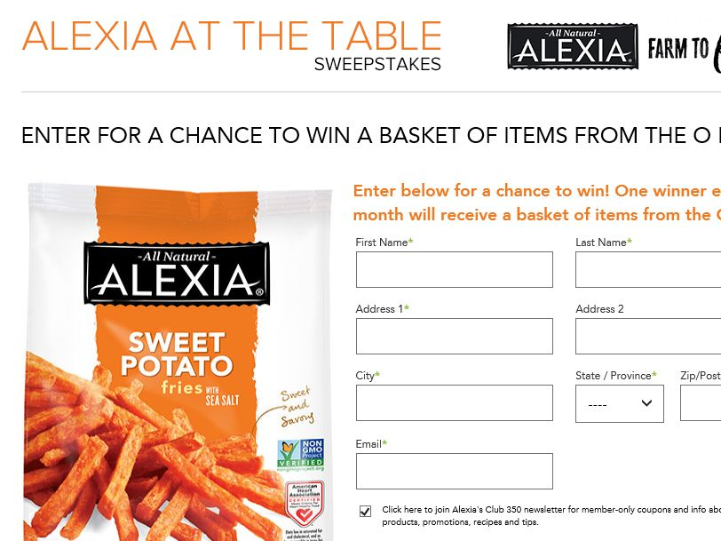 "The O ""Alexia At The Table Sweepstakes"" Sweepstakes"