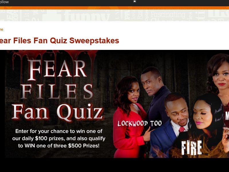 The Fear FilesFan Quiz Sweepstakes