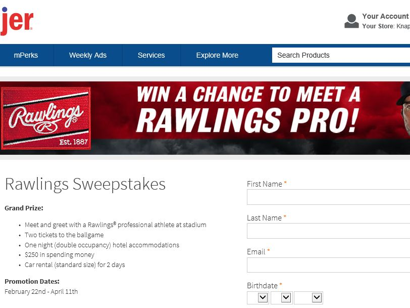 "The Rawlings ""Mark of a Pro"" Sweepstakes"