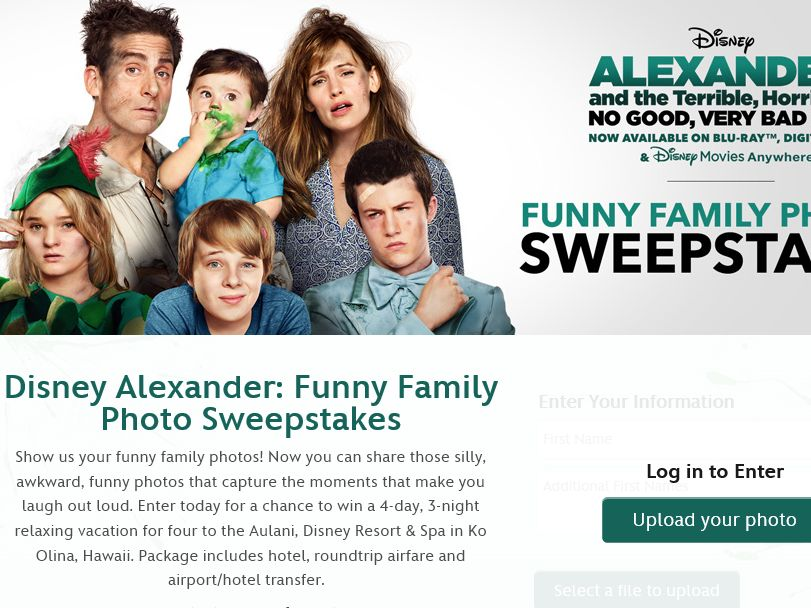 Disney Alexander: Funny Family Photo Sweepstakes