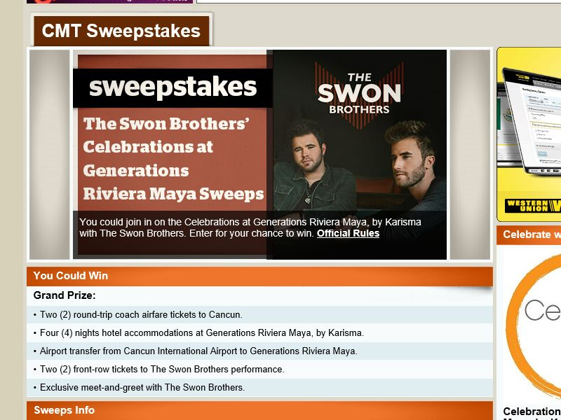 The Swon Brothers' Celebrations at Generations Riviera Maya Sweepstakes