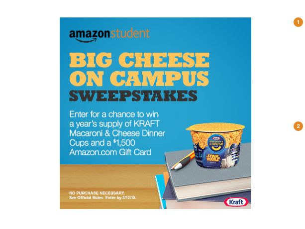"Amazon Student ""Big Cheese on Campus"" Sweepstakes"