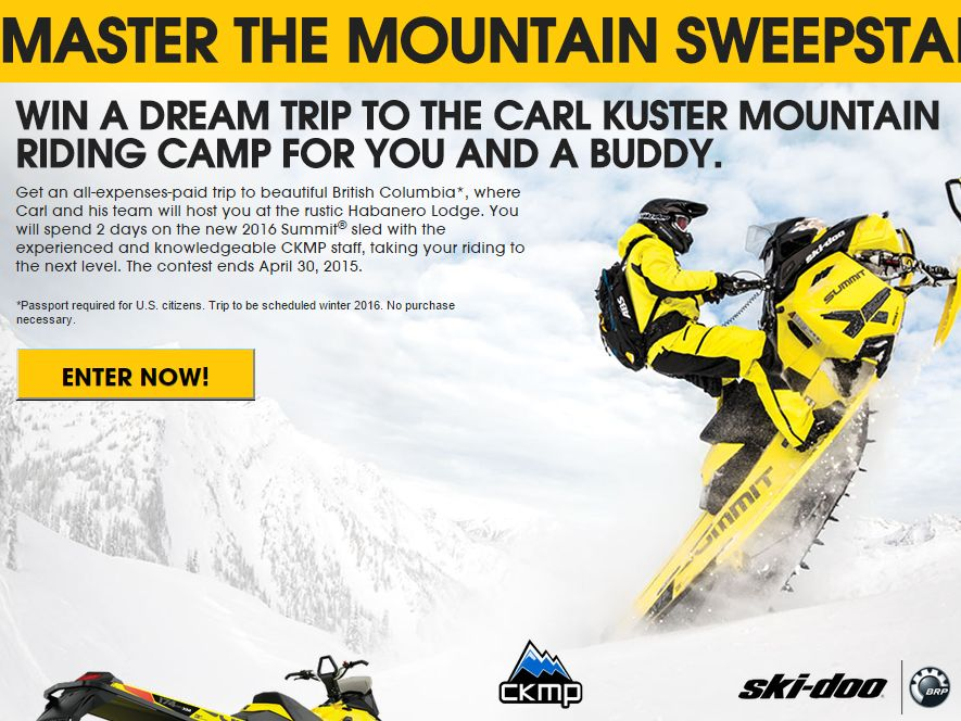 The Ski‐Doo Spring Tour Sweepstakes