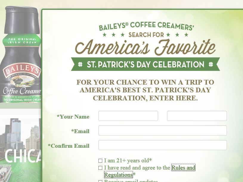 The BAILEYS Coffee Creamers' Search for America's Favorite St. Patrick's Day Celebration Sweepstakes