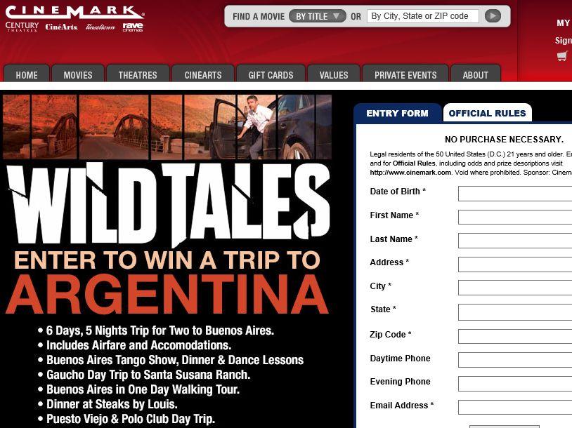 Cinemark's Wild Tales Sweepstakes