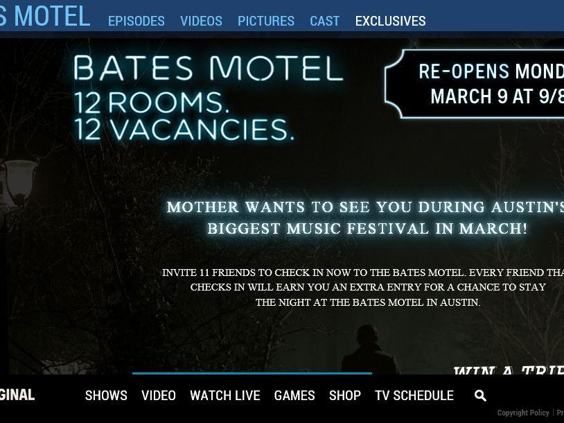 A&E's Bates Motel No Vacancy Sweepstakes