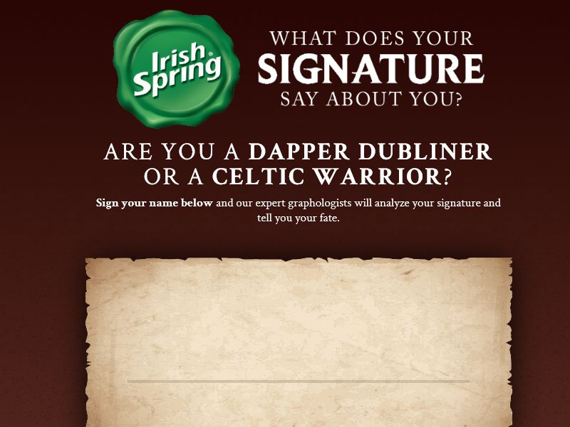 """Irish Spring """"What Does Your Signature Say About You"""" Sweepstakes"""