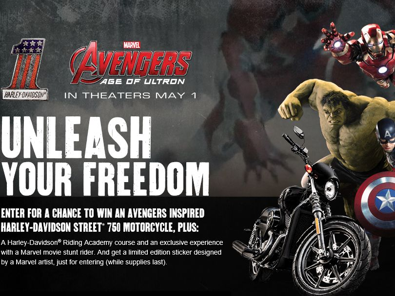 """Harley-Davidson's """"Marvel's Avengers: Age of Ultron"""" Sweepstakes"""