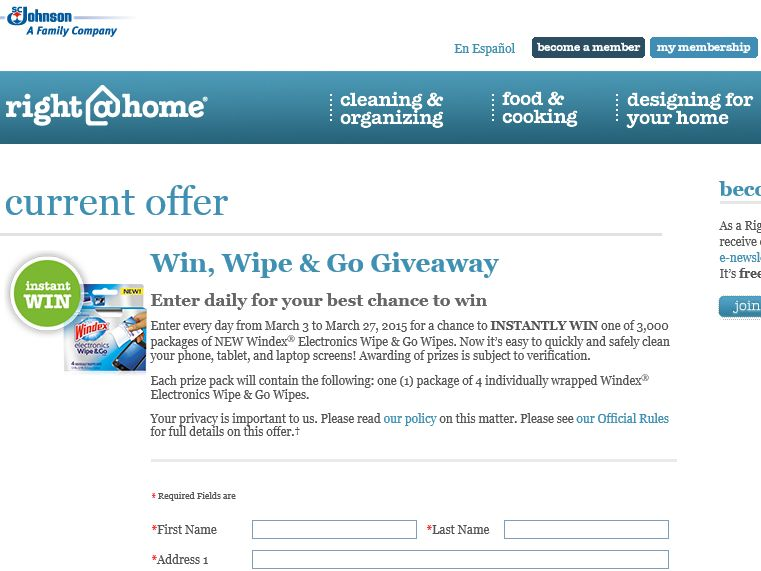 "Right@Home ""WIN, WIPE & GO"" Giveaway"